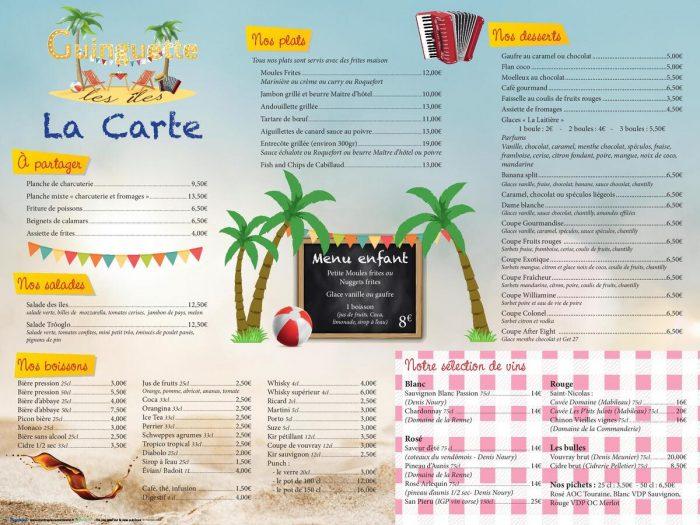 Carte de la guinguette des Îles de Trôo